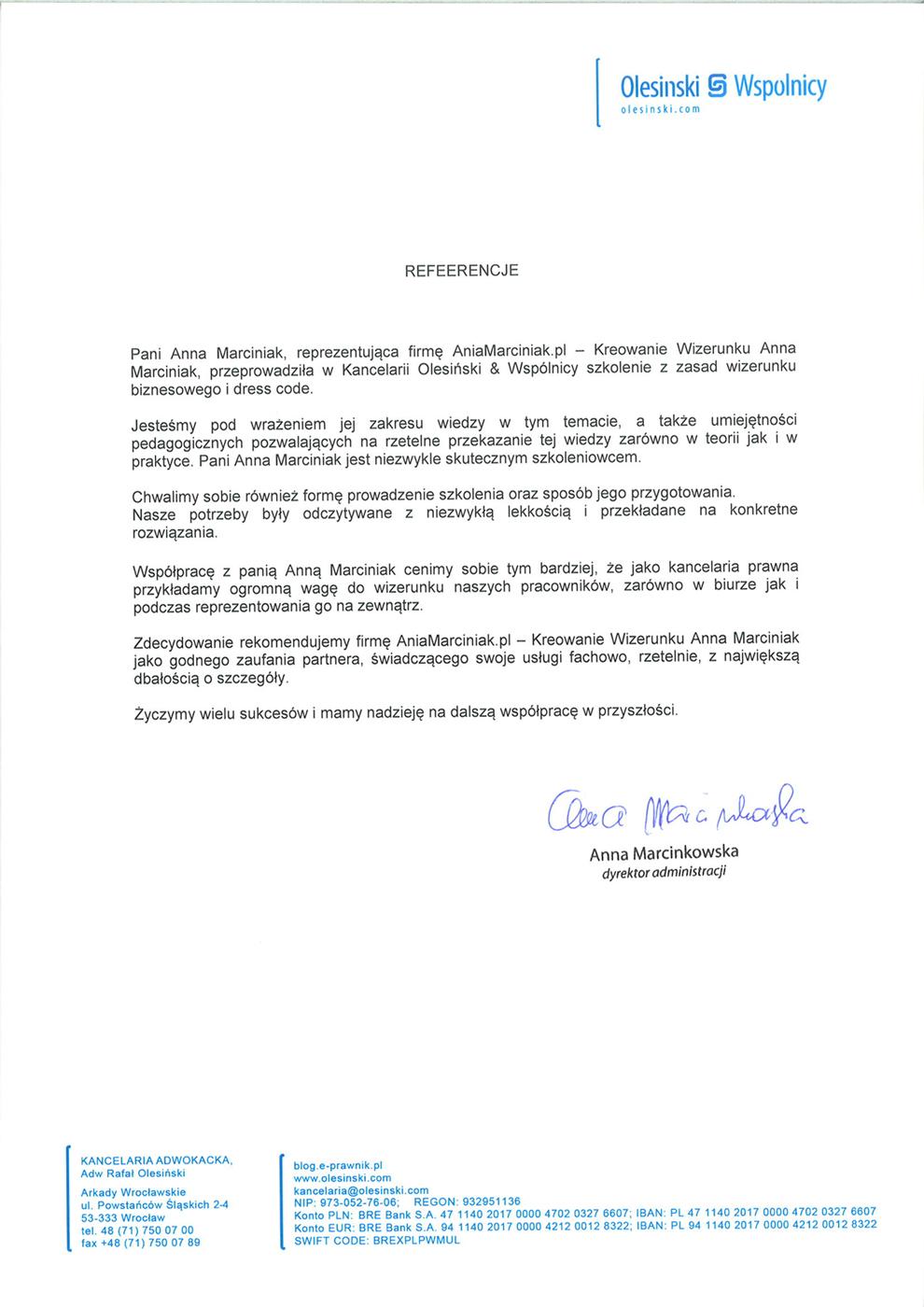 referencje Kancleraia Olesiński